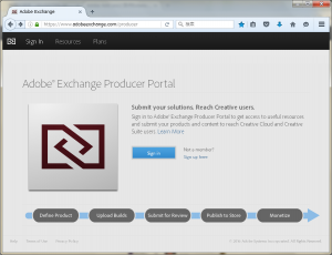 Adobe ExchangeにSign In!